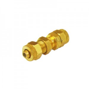 Brass P U BulkHead Assembly 8mm x 8mm  - PUBH8M